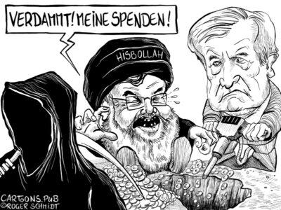 Karikatur, Cartoon: Verbot Hisbollah Hassan Nasrallah © Roger Schmidt