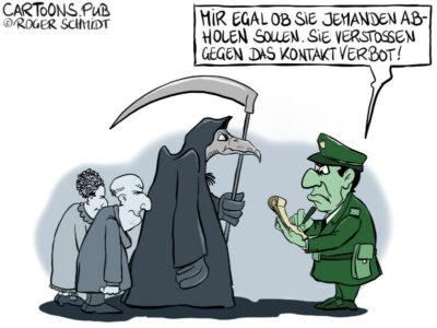 Karikatur, Cartoon: Verstoss gegen das Kontaktverbot © Roger Schmidt