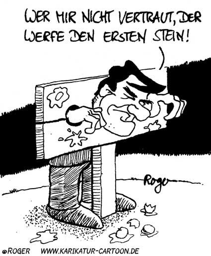 Karikatur, Cartoon: Vertrauensfrage, © Roger Schmidt