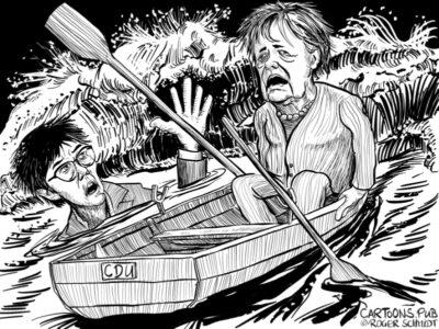 Karikatur, Cartoon: Annegret Kramp-Karrenbauer gibt auf © Roger Schmidt