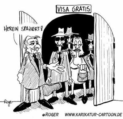 Karikatur, Cartoon: Visa, © Roger Schmidt