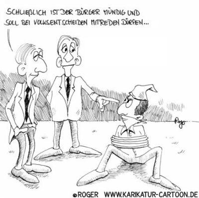 Karikatur, Cartoon: Volksentscheid, © Roger Schmidt