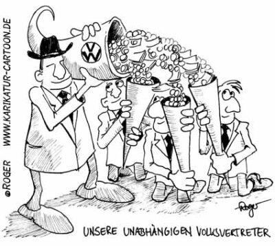 Karikatur, Cartoon: Volkswagen und seine Volksvertreter, © Roger Schmidt
