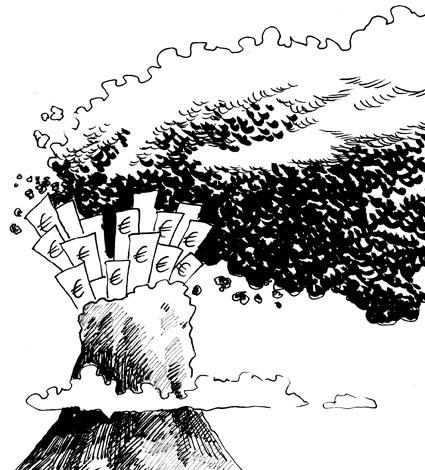 Karikatur, Cartoon: Vulkanasche, © Roger Schmidt