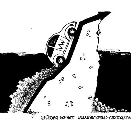 Karikatur, Cartoon: Börsenkurs der VW-Aktie, © Roger Schmidt