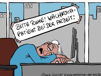Karikatur, Cartoon: Der Wachkoma-Patient, © Roger Schmidt