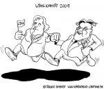 Karikatur, Cartoon: Wahlkampf 2009 in Deutschland, © Roger Schmidt