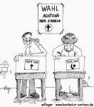 Karikatur, Cartoon: Religion, Kreuz oder Halbmond, © Roger Schmidt