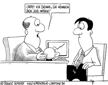Karikatur, Cartoon: Bewerbung mit Wahrsagen, © Roger Schmidt