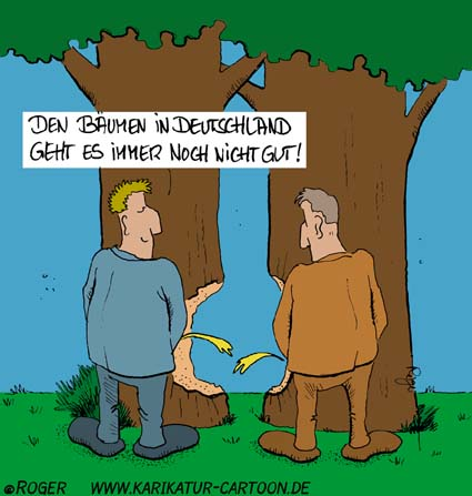 Karikatur, Cartoon: Waldsterben, © Roger Schmidt