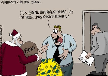 Karikatur, Cartoon: Boni für Banker zu Weihnachten, © Roger Schmidt