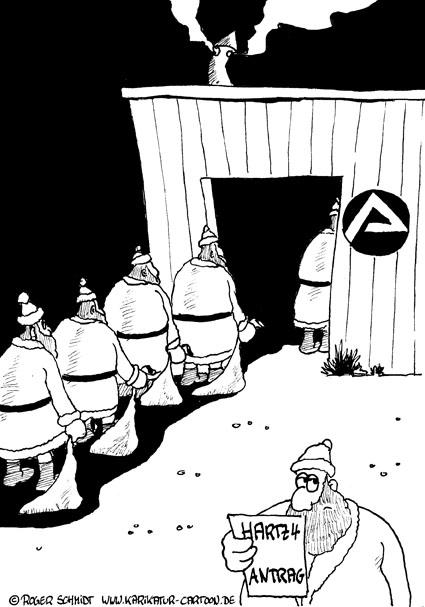 Karikatur, Cartoon: Weihnachten und die Finanzkrise, © Roger Schmidt
