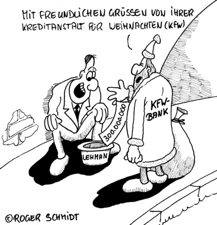 Karikatur, Cartoon: Weihnachten und die KfW-Bank, © Roger Schmidt