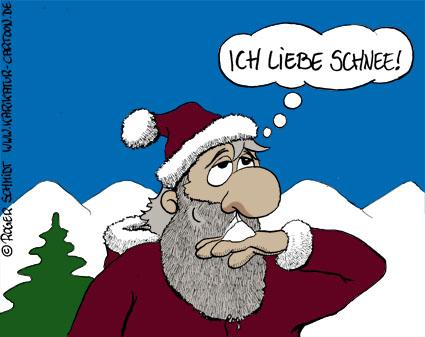 Karikatur, Cartoon: Weihnachten im Schnee, © Roger Schmidt