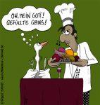 Karikatur, Cartoon: Weihnachtsgans mit Rezept zubereiten, © Roger Schmidt