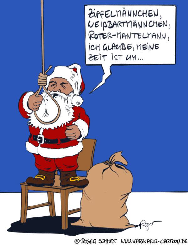 Karikatur, Cartoon: Weihnachtsmann Ade, © Roger Schmidt