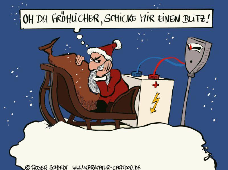 Karikatur, Cartoon: Der Weihnachtsmann im Zeitalter der E-Mobility, © Roger Schmidt