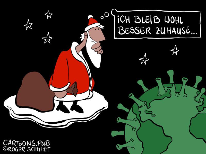 Karikatur, Cartoon: Risikogruppe Weihnachtsmann © Roger Schmidt