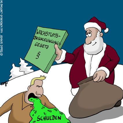 Karikatur, Cartoon: Steuergeschenk vom Weihnachtsmann, © Roger Schmidt
