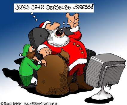 Karikatur, Cartoon: Weihnachtsmann im Stress, © Roger Schmidt