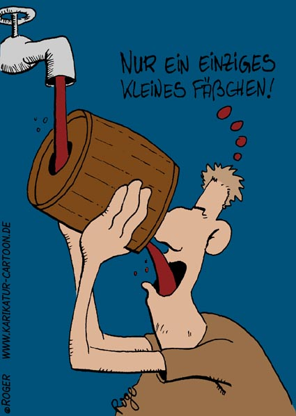 Karikatur, Cartoon: Weinfass, © Roger Schmidt