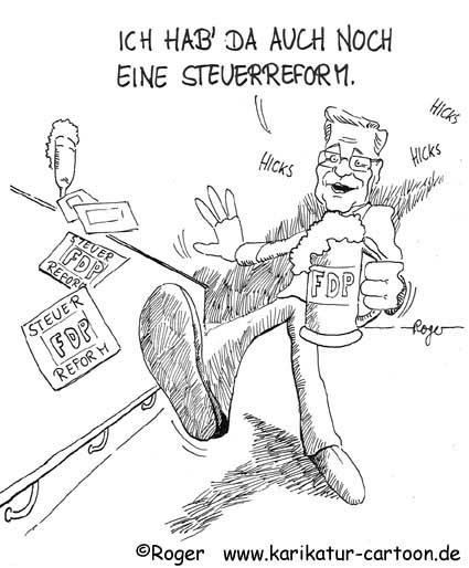 Karikatur, Cartoon: Guido Westerwelle, FDP, und die Steuerreform, © Roger Schmidt