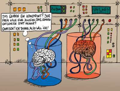 Karikatur, Cartoon: Willensfreiheit versus Hirnforschung, © Roger Schmidt