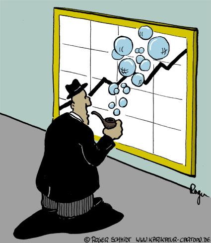 Karikatur, Cartoon: Wirtschaftsblase, © Roger Schmidt