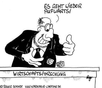 Karikatur, Cartoon: Wirtschaftsforschung, © Roger Schmidt
