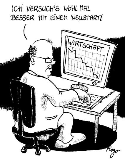 Karikatur, Cartoon: Gewinner in der Wirtschaftskrise, © Roger Schmidt