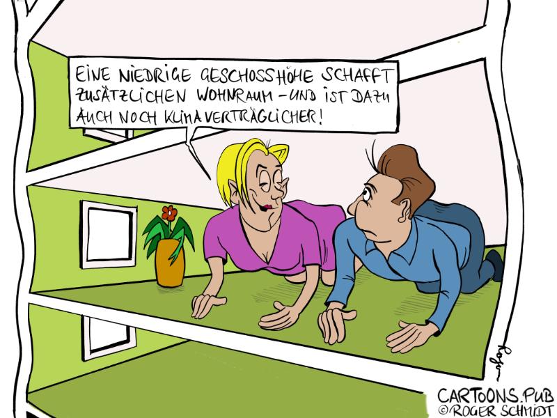 Karikatur, Cartoon: Wohnungsnot © Roger Schmidt