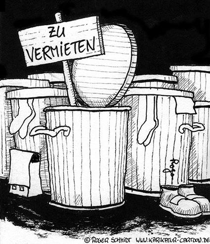 Karikatur, Cartoon: Wohnungsnot als Chance, © Roger Schmidt