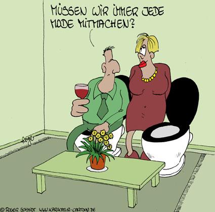 Karikatur, Cartoon: Wohnzimmer, © Roger Schmidt