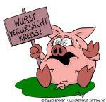 Karikatur, Cartoon: Wurst verursacht Krebs, © Roger Schmidt