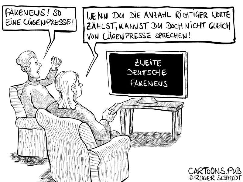 Karikatur, Cartoon: ZDF - Zweite Deutsche Fakenews © Roger Schmidt