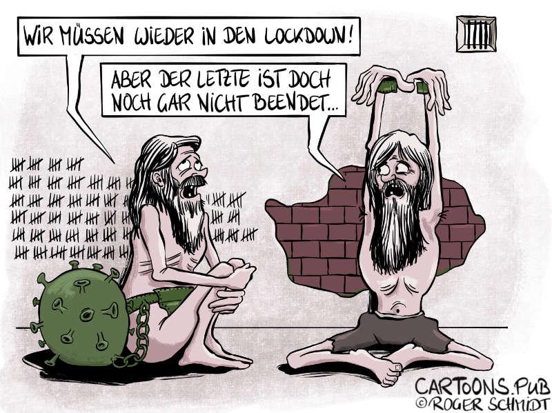 Karikatur, Cartoon: Der Zero-Covid-Lockdown © Roger Schmidt