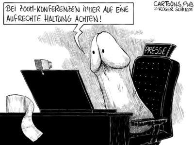 Karikatur, Cartoon: Zoom-Konferenz mit aufrechter Haltung © Roger Schmidt