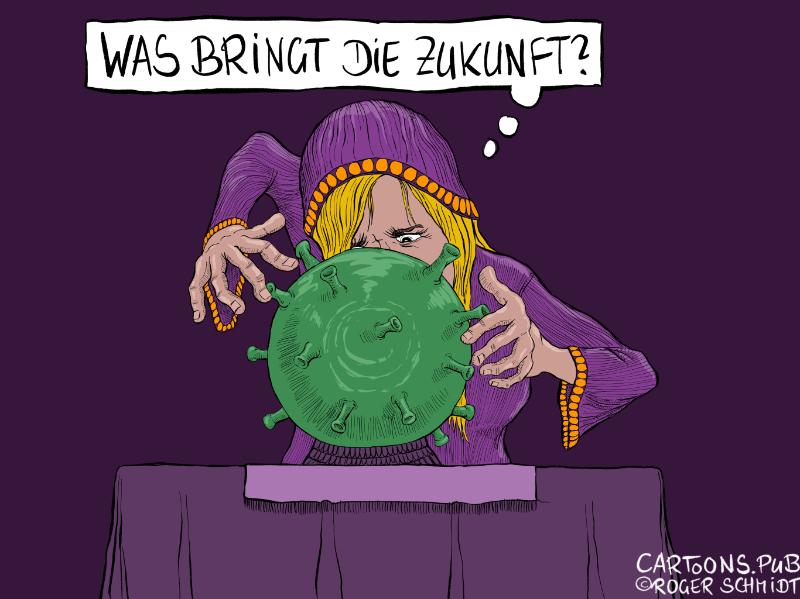 Karikatur, Cartoon: Covid-19, unsere Zukunft © Roger Schmidt
