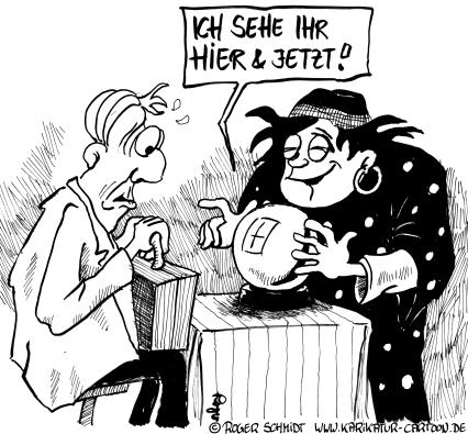 Karikatur, Cartoon: Zukunftsangst?, © Roger Schmidt