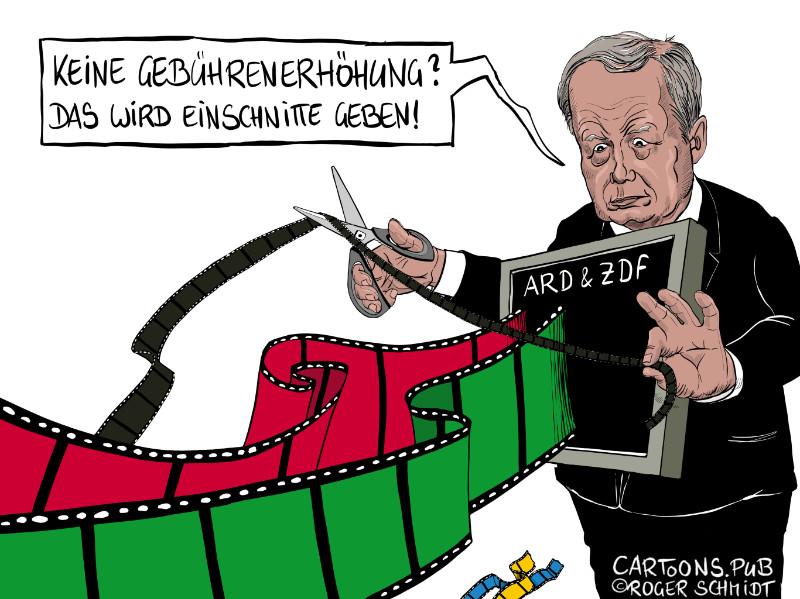Karikatur, Cartoon: durch Zwangsgebühren finanziertes Fernsehen © Roger Schmidt